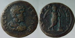 Ancient Coins - Geta AE18 of Augusta Traiana, Thrace.Winged figure of Thanatos (personification of death),  Genius of Death, standing right, holding with both hands burning inverted brand .