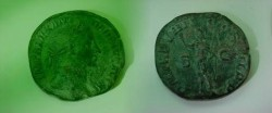 Ancient Coins - Severus Alexander Æ Sestertius,  230 AD.  P M TR P VIIII COS III P P S-C, Sol standing left, holding whip.