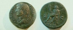 Ancient Coins - Hadrian Æ Sestertius.  S-C, Dacia seated left on rock, holding vexillum in right hand, curved sword in left, DACIA in ex.