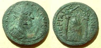 Ancient Coins - Gallienus  Æ 28 10-assaria of Pamphylia, Perga.  Artemis Pergaia within distyle temple, ACVLOV on archetrave, flanked by two torches.