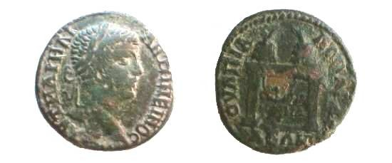 Ancient Coins - Caracalla Æ27 of Anchialus. Table with two prize urns.