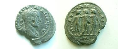 Ancient Coins - Gordian III AE23 of Markianopolis.  The Three Graces dancing together, the left one holding a kantheros.
