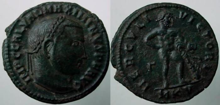Ancient Coins - Maximinus II AE Follis - HERCVLI VICTORI.Hercules standing .EF.BEAUTIFUL GREEN PATINA
