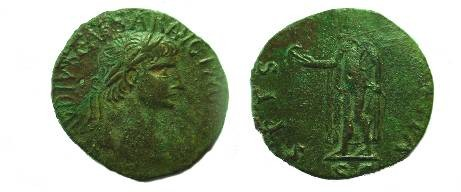 Ancient Coins -  Provincial Claudius sestertius with Spes.  VF.