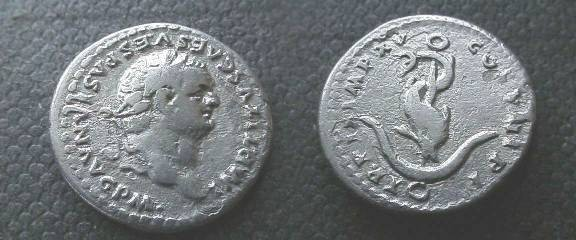Ancient Coins - Titus Denarius. 80 AD. Dolphin coiled around an anchor.http://www.youtube.com/watch?v=hsSfIYF2mxY