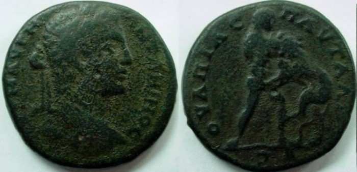 Ancient Coins - Caracalla AE30 of Pautalia. Naked Hercules l.,strangling  Naeman lion