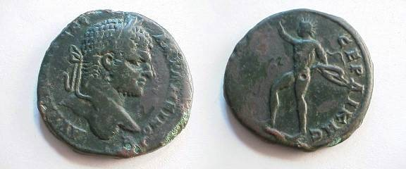 Ancient Coins - Caracalla AE30 of Serdica, Thrace. Helios, radiate and with cape flowing behind, standing left with hand raised.
