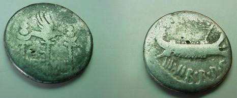 Ancient Coins - Marc Antony,  32-31 BC.  LEG  VIIII, aquila and two legionary standards.