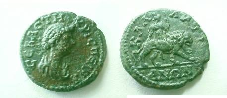 Ancient Coins - Crispina AE20 of Kallatis, Moesia Inferior.  Cybele riding lion to right.