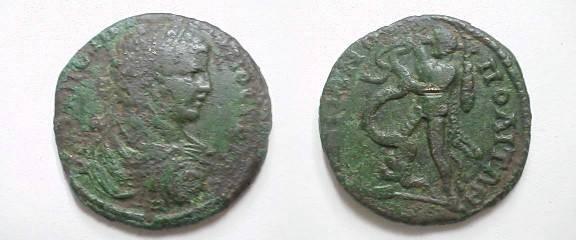 Ancient Coins - Geta Æ 26 of Hadrianopolis, Thrace.  Hercules left battling hydra.