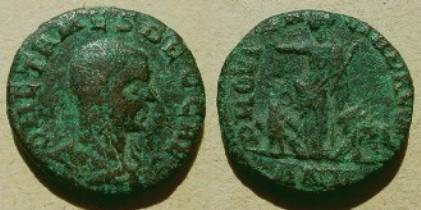 Ancient Coins - Herennius Etruscus AE26 of the Province of Dacia. PROVINCIA DACIA, Dacia standing between a lion and an eagle, holding a branch & scepter.