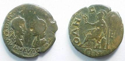 Ancient Coins - Gordian III & Tranquillina AE26 of Odessos, Thrace.  Athena seated left holding in Victory & spear, shield to right, E in right field.