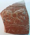 Ancient Coins - Roman redware pottery fragment from Gaul with figure of a lion, possibly from a gladiatorial or hunting scene