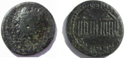 Ancient Coins - Macedonia, under the Romans, AE22. two hexstyle temples.Rare