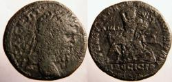 Ancient Coins - Macrinus AE26 of Nikopolis ad Istrum. Laureate head right / Young man (Hemus, the Old Mountain), reclining left seated on a rock,