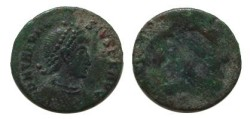 Ancient Coins - Theodosius Brockage of an AE 13mm, DN THEODOSIVS P F AVG.