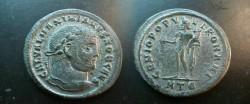 Ancient Coins - Galerius, as Caesar,  Æ Follis.  GENIO POPVLI ROMANI, Genius standing left, holding patera & cornucopiae, chlamys over shoulder; HT<font face=
