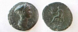 Ancient Coins - Sabina AE As.  Ceres seated left on basket holding corn ears upright & torch, SC in ex.