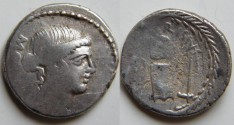 Ancient Coins - T Carisius Denarius, 45 BC. T CARISIVS above coin matrix over anvil between tongs and hammer.