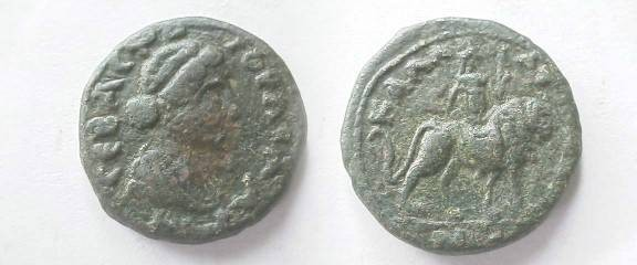 Ancient Coins - Julia Domna AE18 of Kallatis, Moesia Inferior.  Cybele riding lion right.