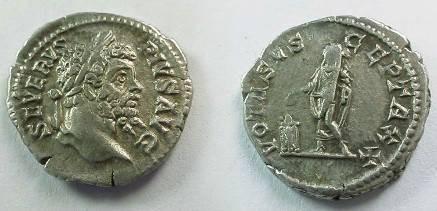 Ancient Coins - Septimius Severus Denarius.  VOTA SUSCEPTA XX, emperor standing sacrificing from patera over altar left.