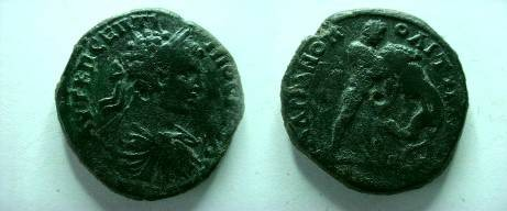 Ancient Coins - Geta Æ 28 of Hadrianopolis, Thrace.  Hercules right strangling the Namean lion.