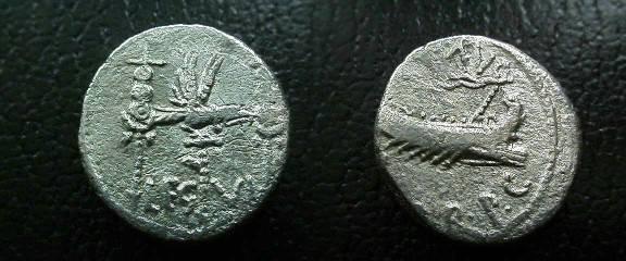 Ancient Coins - Marc Antony Legionary Denarius,  32 BC.  LEG VI.Ferrata