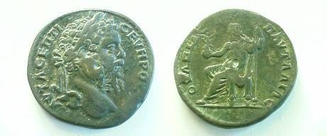 Ancient Coins - Septimius Severus AE27 of Pautalia, Thrace. Zeus enthroned left holding Victory on a globe & scepter. .