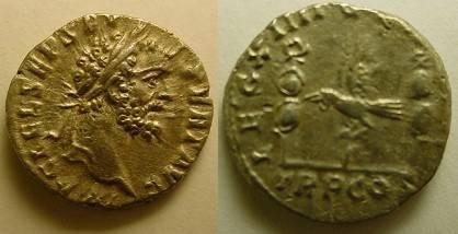Ancient Coins - Septimius Severus Denarius.Legionary eagle between two standards.