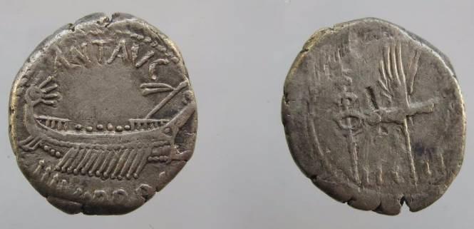 Ancient Coins - Mark Antony Legionary Denarius. 32-31 BC. Praetorian galley right / LEG II, Legio II Augusta