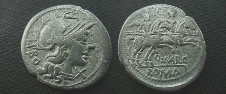 Ancient Coins - Q Marcius Libo Denarius, 148 BC.  Dioscuri galloping right, Q MARC below horses.