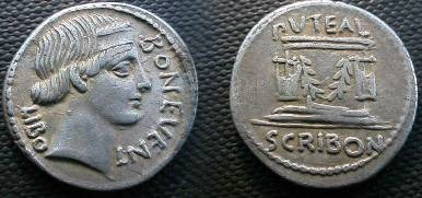 Ancient Coins - L Scribonius Libo Denarius,  62 BC.  PVTEAL SCRIBON Well-head ornamented with two lyres, tongs and festoons.