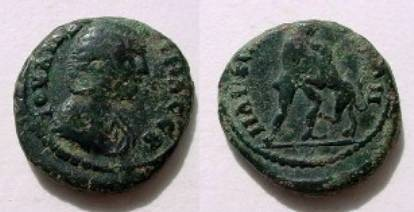 Ancient Coins - Julia Domna AE18 of Markianopolis. Hercules, naked, wrestling Namean lion right.