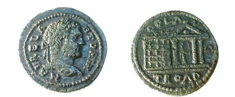 Ancient Coins - Caracalla AE27 of Alexandria Troas.  COL AVG TROAD, perspective view of hexstyle temple with statue of Apollo within holding patera and bow.