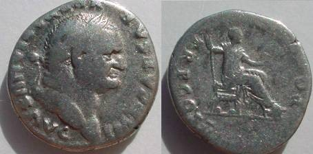 Ancient Coins - Vespasian, AR denarius.  PONT MAX TR P COS V Emperor seated holding scepter and branch.