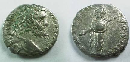 Ancient Coins - Septimius Severus Denarius.   P M TRP III COS II P P, Minerva standing left with spear and round sheild.