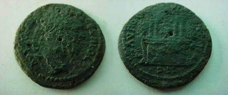 Ancient Coins - Septimius Severus AE30 of Augusta Traiana, Thrace.  two story, tetrastyle temple of Artemis, trees on either side.