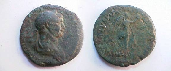 Ancient Coins - Trajan Æ As.  SENATVS POPVLVSQVE ROMANVS S-C, Victory advancing right, wreath in extended right hand & palm over left shoulder.