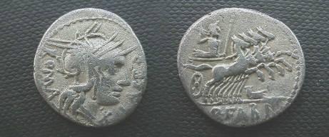 Ancient Coins - Q Fabius Labeo Denarius,  124 BC.  Jupiter in quadriga right, prow below; Q FABI in ex.
