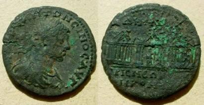 Ancient Coins - Elagabal, Nikomedia, AE28 .Three temples side by side.