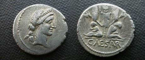 Ancient Coins - Julius Caesar Denarius.  Gallia and Gaulish captive seated beneath trophy.
