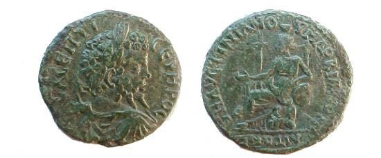 Ancient Coins - Septimius Severus AE27 of Marcianopolis. Kybele seated left with patera, arm on drum, lion at side.