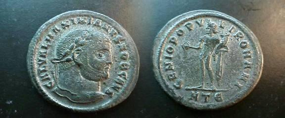 Ancient Coins - Galerius, as Caesar,  Æ Follis.  GENIO POPVLI ROMANI, Genius standing left, holding patera & cornucopiae, chlamys over shoulder; HT