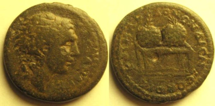 Ancient Coins - KOINON OF MACEDON. Time of Gordian III. AE 28mm.Head of Alexander. Two prize urns on table