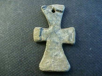 Ancient Coins -  Byzantine lead cross with flared arms.  40mm.