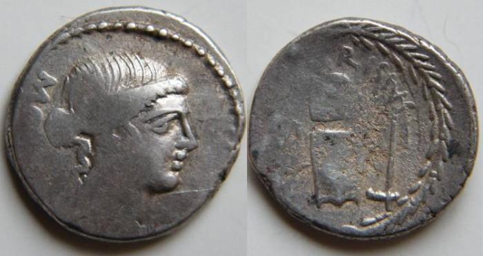 Ancient Coins - T Carisius Denarius, 45 BC. T CARISIVS above coin matrix over anvil between tongs and hammer.