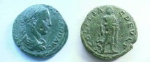 Ancient Coins - Severus Alexander AE24 of Deultum, Thrace.  COL FL PAC DEVLT, Aesclepios standing, looking left, holding serpent entwined staff, mantle draped over arm.
