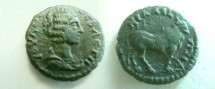 Ancient Coins - Julia Domna AE16 of Nicaea, Bithynia.  Bull standing right.
