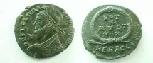 Ancient Coins - Julian II Æ3 20mm.  VOT X MVLT XX, legend in four lines within wreath, HERACL•A.