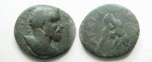 Ancient Coins - Septimius Severus AE20 of Anchialus, Thrace.  Hercules right wrestling Namean lion.